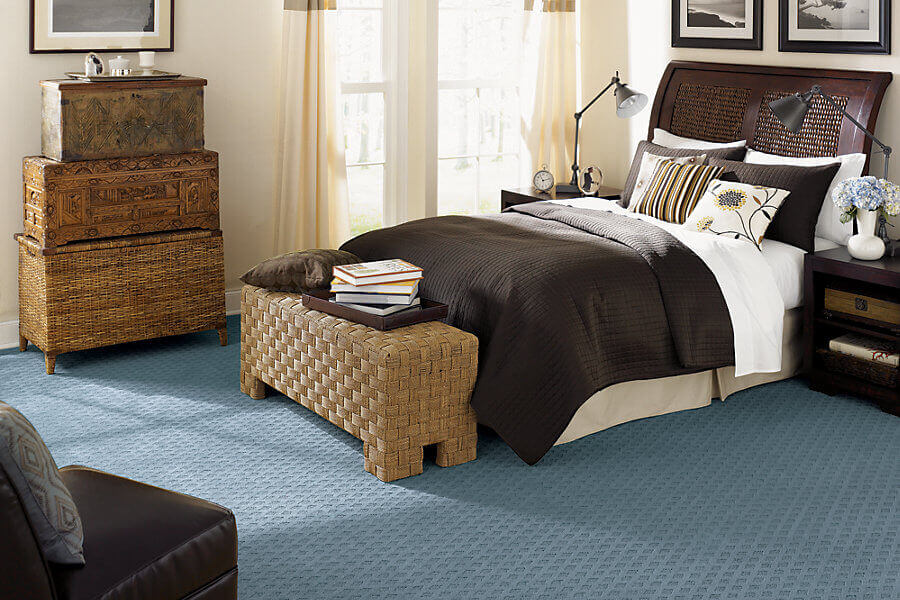 Carpet Installation Costs. Teal Carpet In A Traditional Bedroom