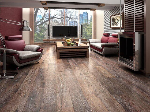 Wide-plank hardwood flooring in a modern apartment