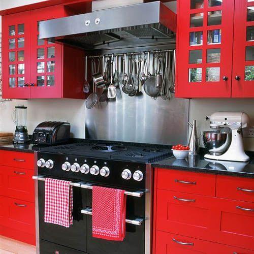 Red Small Kitchen Decor Mod Apartment