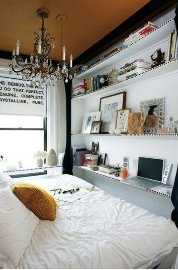 Bedroom shelves plus mini desk