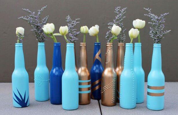 Convert Old Bottles into Flower Vases mod